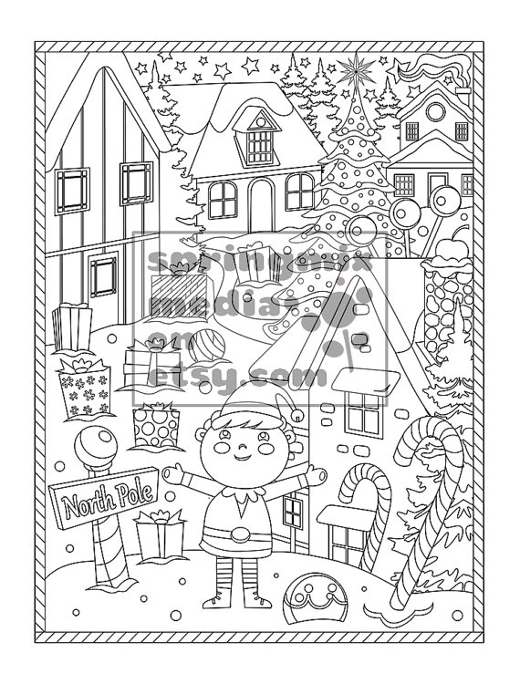 Christmas Coloring Page Holiday Xmas North Pole Christmas