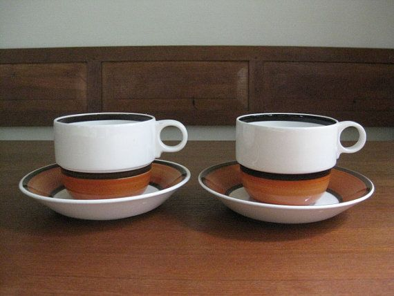 Gustavsberg Sweden LINDA 2 Sets of Tea Cup by ScandinavianMood Cup and saucer Bone china