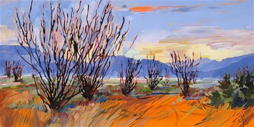 Ocotillo Rainbow, early impressionist painting by Erin Hanson