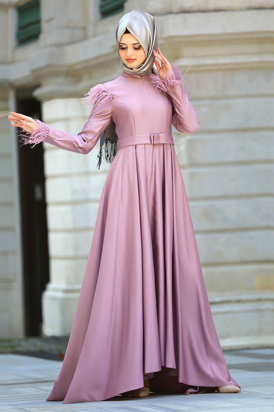 244a30bd000e0 2018 yeni sezon tesettür abiye elbise- Puane - Tüy Detaylı Gül Kurusu Tesettür  Abiye Elbise 8181GK