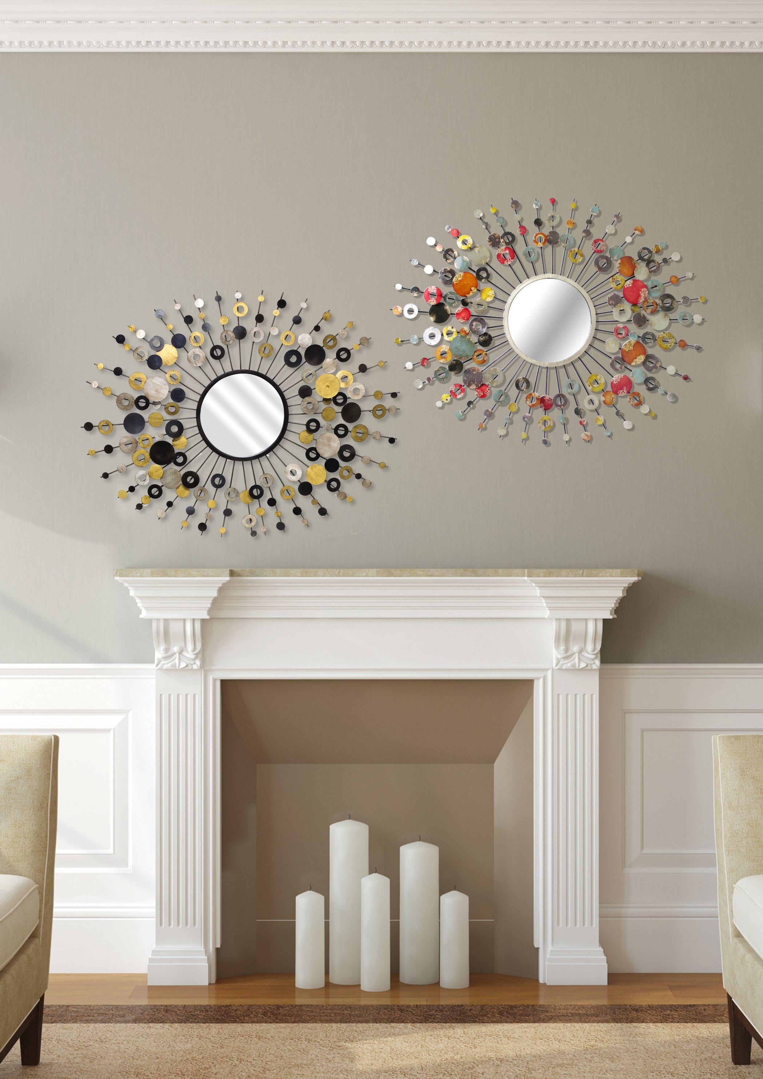 miroir soleil mural en m tal noir pastilles or argent. Black Bedroom Furniture Sets. Home Design Ideas
