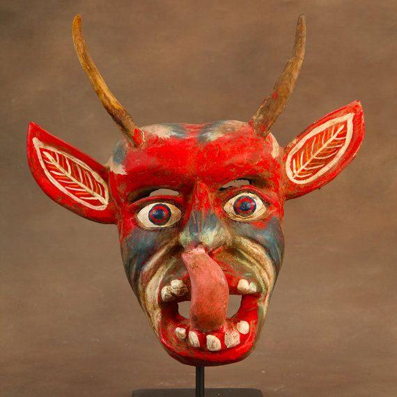 The Devil S Music De Maskers: Vintage Red Mexican Diablo Mask With Goat Horns