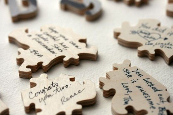 Guests sign a puzzle piece - put it back together, frame it...such a cute and creative idea! I love this!