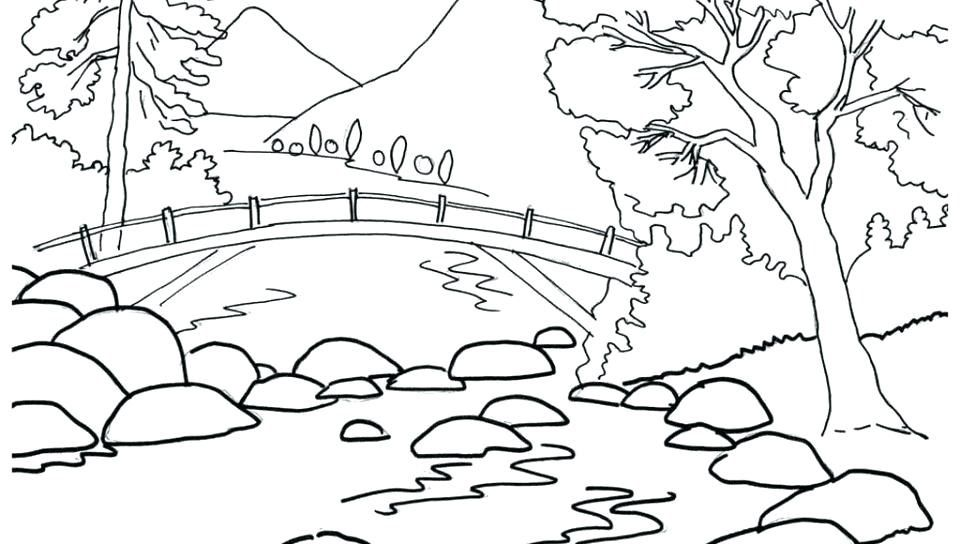 Nature Coloring Pages For Adults To Print Landscape