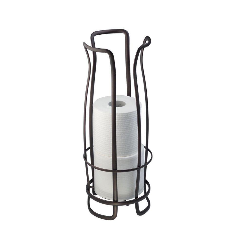 Interdesign Axis Freestanding Toilet Paper Holder In Bronze 55641 The H Free Standing Toilet Paper Holder Bronze Toilet Paper Holder Toilet Paper Roll Holder