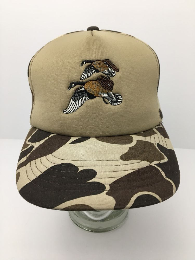 a8e41cdb2a4c7 Vintage Winchester Hunting Cap Duck Camo Hat Padded Foam Snapback Camouflage   Winchester  SnapBack