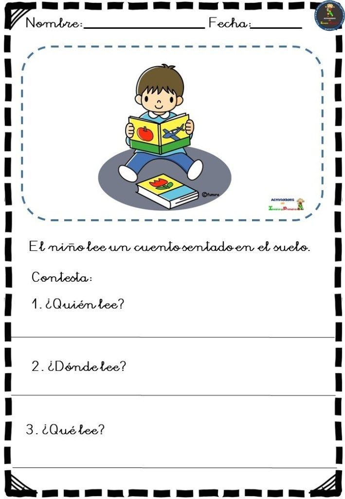 Sencillas fichas para la comprensión lectora para infantil y primer ciclo -Orie...