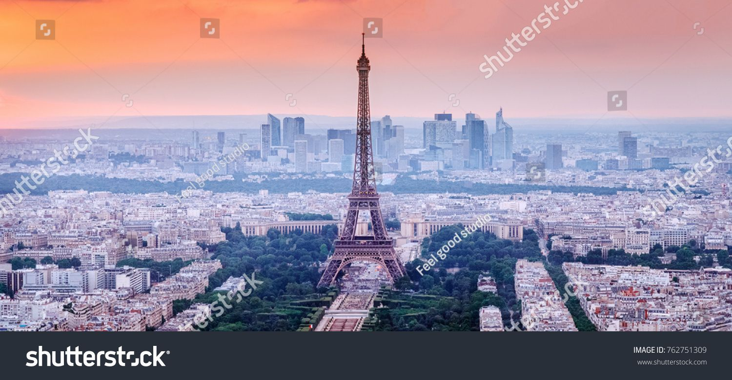Paris France Panoramic View Of Paris Skyline With Eiffel Tower In The Center Amazing Sunset Scenery With Dramatic Sky Paris Skyline Skyline Panoramic Views