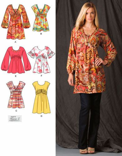 PEASANT BOHO Dress & Tops Sewing Pattern - 5 Sizes Mini Dresses ...