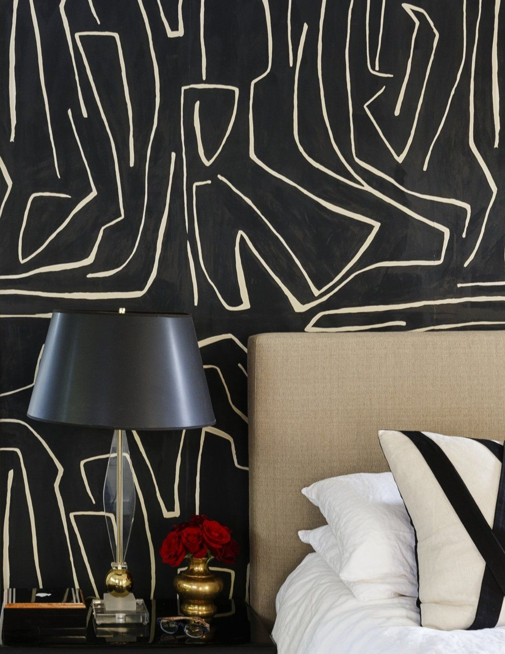 Black wallpaper with neutral accents designer profile allison crawford of acd design the decorista