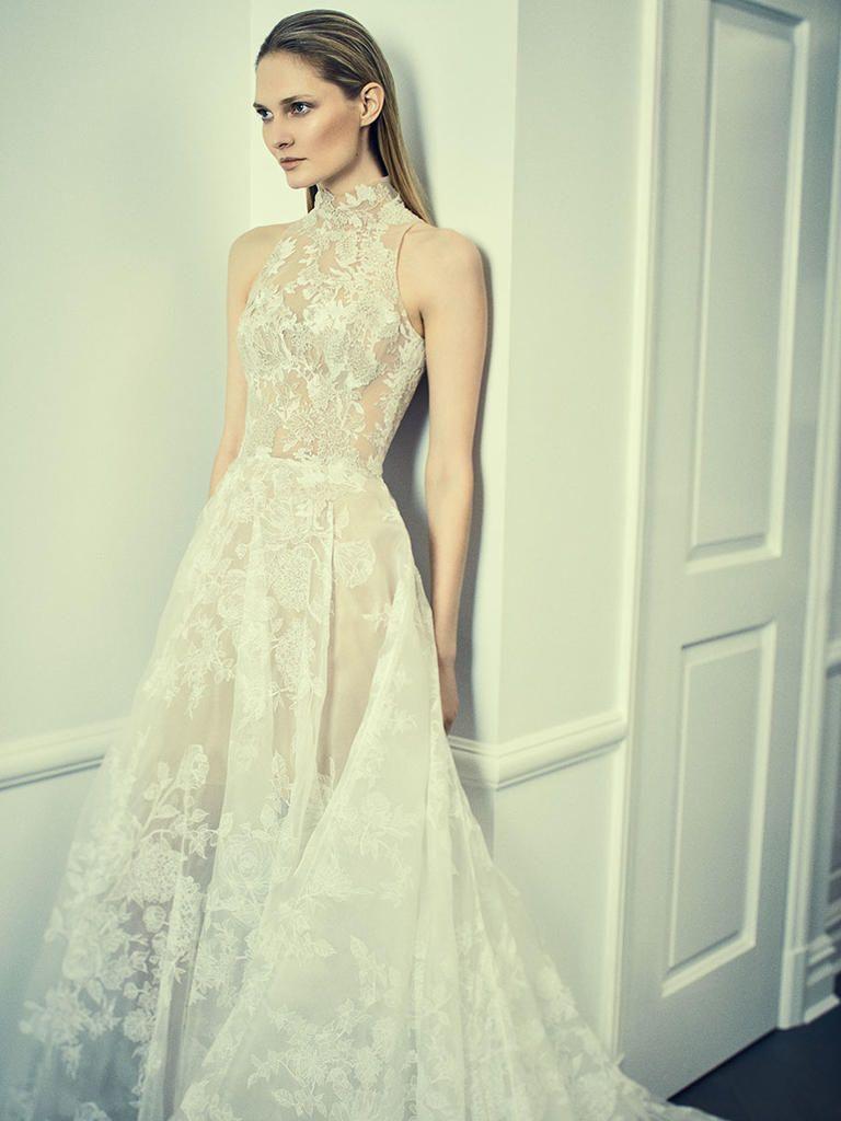 Lace wedding dress halter  Romona Keveza Spring  Minimalist Gowns With a Dramatic Twist