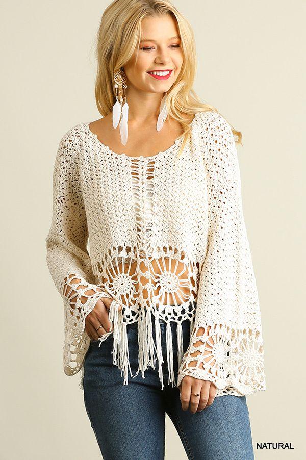 U2049 UMGEE Bohemian Cowgirl Knit Crochet Top with Fringe Hem ...