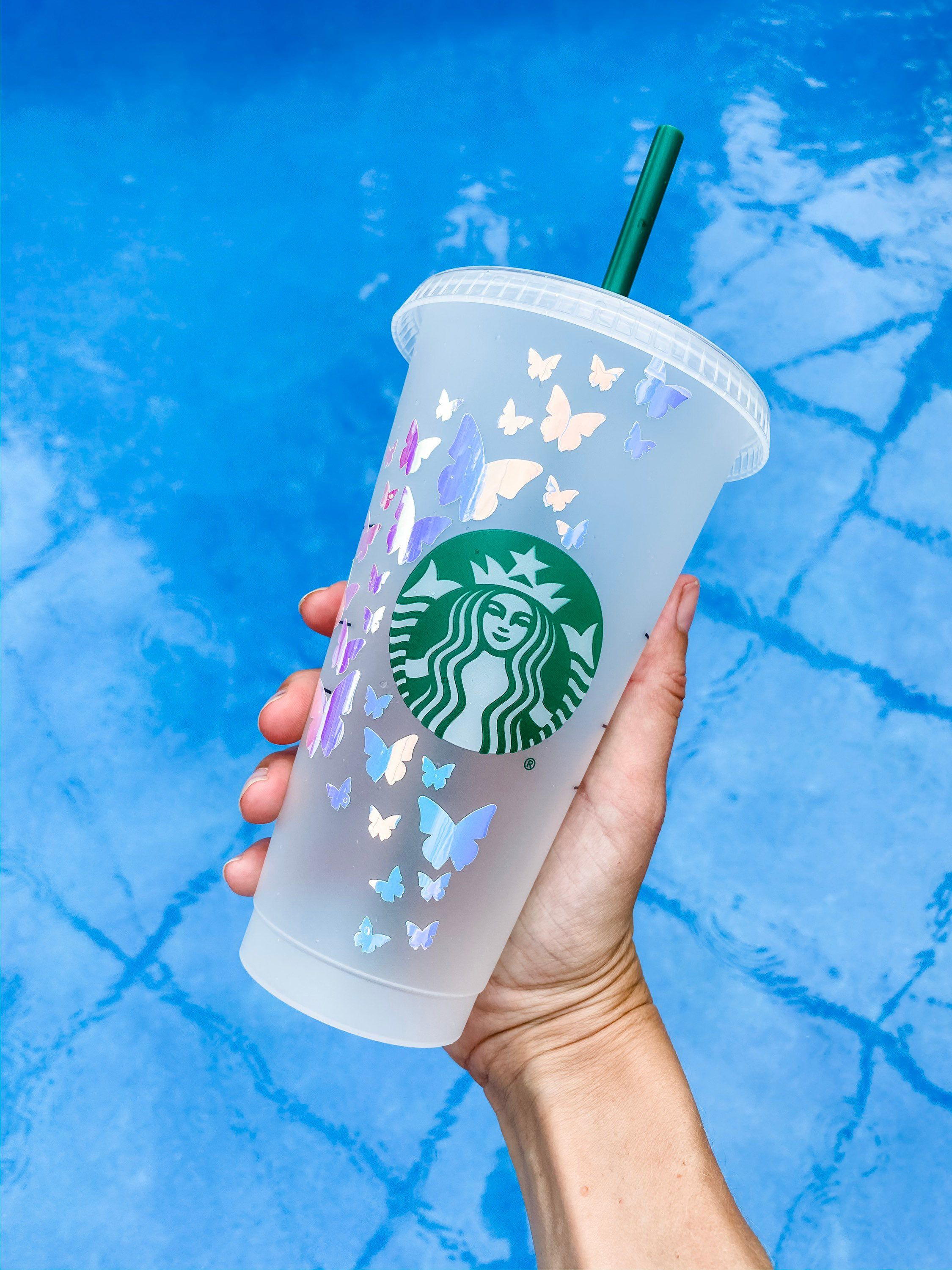 Holographic Butterflies Personalized Reusable Starbucks Cup Personalized Butterflies Starbucks Cold Cup Starbucks Venti Cup