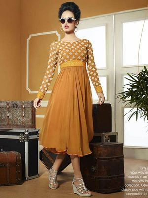 0bf2d29b80cf Orange Color Indo Western Kurti Frock Style Top By Shreeji Fashion Kurtas  and Kurtis For Women