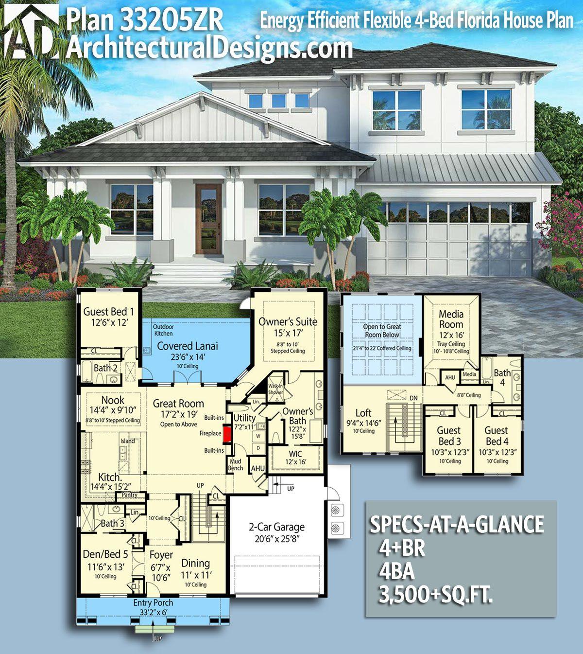 Plan 33205zr Energy Efficient 4 Bed Flexible Florida House Plan Florida House Plans House Plans Florida Home