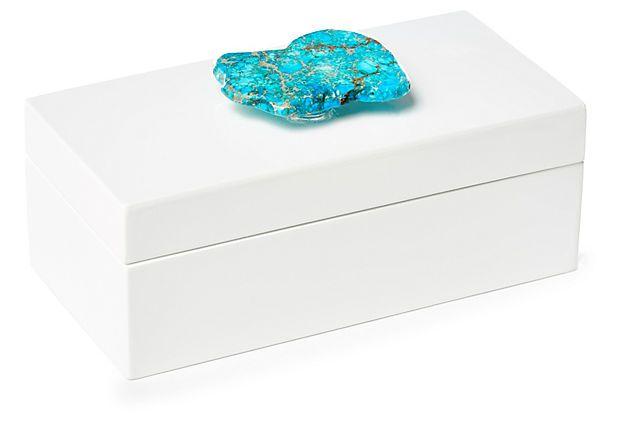 Medium White Box w/ Turquoise Jasper on OneKingsLane.com