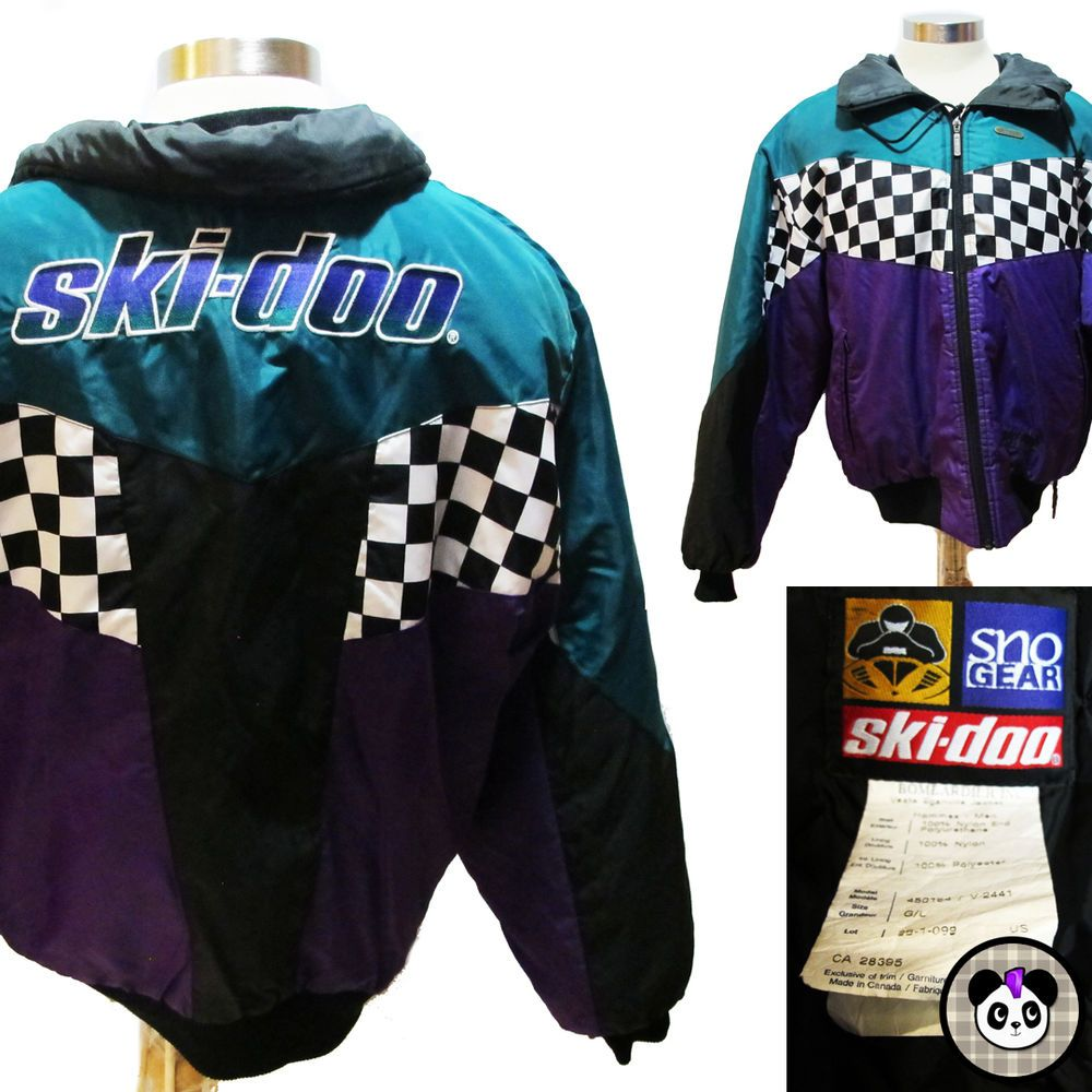 b68b04335 Vintage Ski-Doo Racing Race Jacket Coat Snowmobile Bombardier Sz L ...