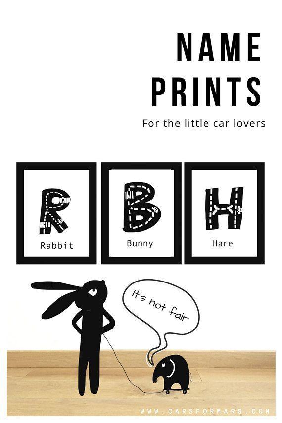 Personalised Boys Name Prints Black /& White Kids Room Wall Art Birthday Gift