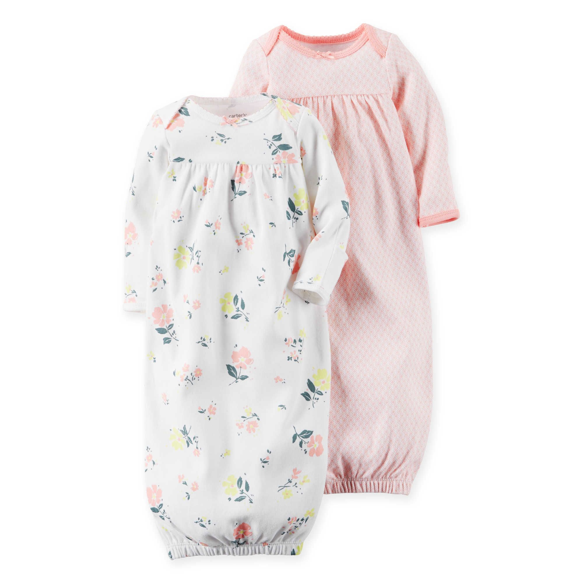 carter s newborn 2 pack babysoft floral sleeper gowns l i t t l e