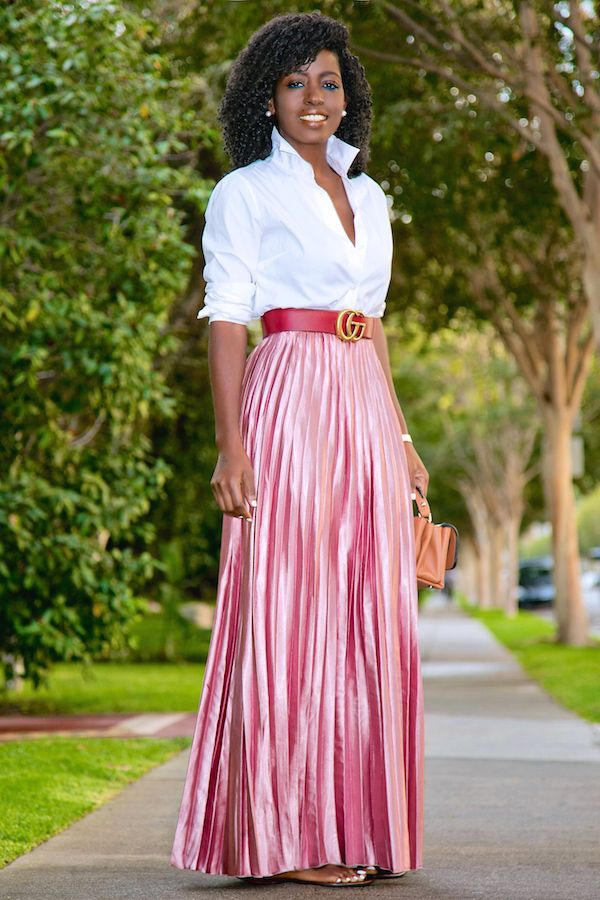 Style Pantry Button Down Shirt Metallic Pink Pleated
