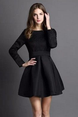 dceca1122 Маленькое черное платье с длинным рукавом | винтаж | Платье черное ...
