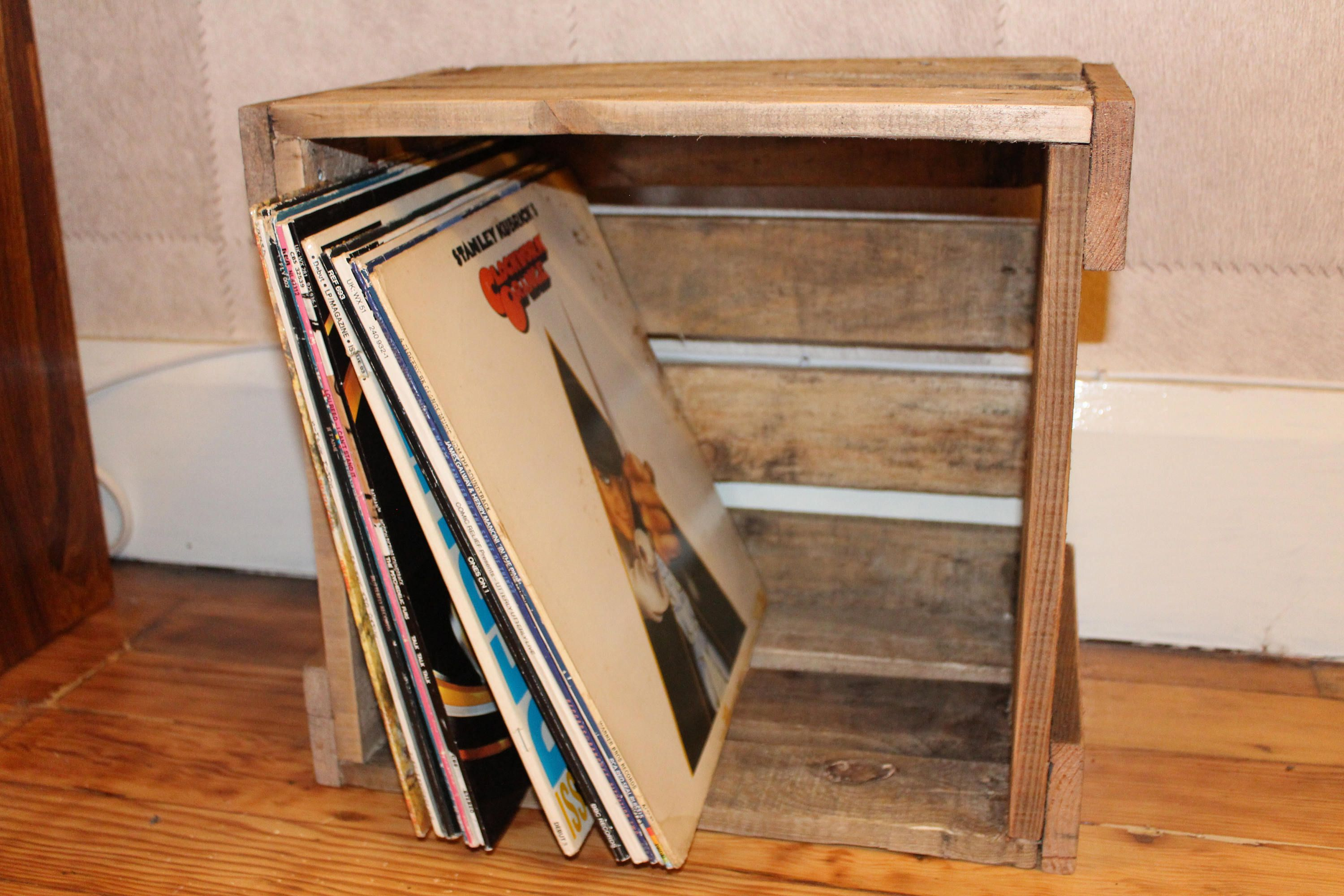Vinyl Record Lp Reclaimed Rustic Wooden Pallet Handmade Storage Box Crate Easily Stackable For Your Albums Choice Of Storage Pallet Furniture Wooden Pallets