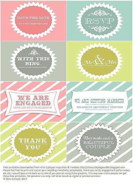 Free Fabulous Wedding Printables