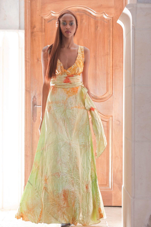 662ee981d007f orange pale mint green yellow v neck long wedding dress by momosoho by  momosoho on Etsy