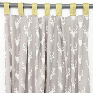 Woodland Deer Gray Curtain Panels