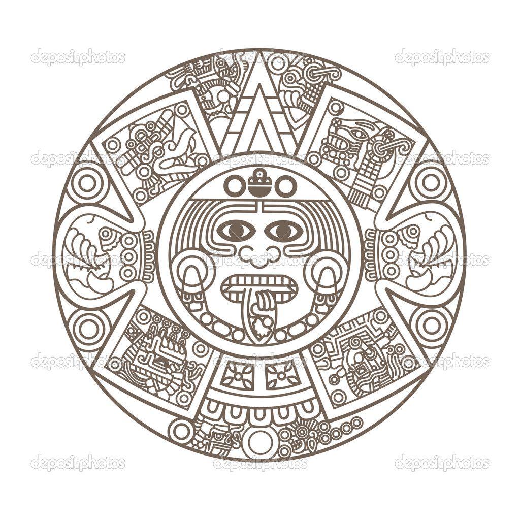 Calendario Cultura Azteca Ilustracion