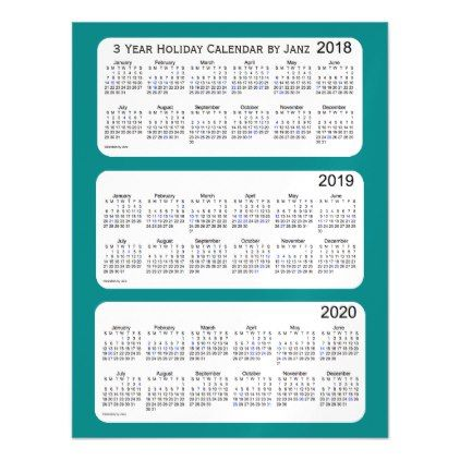 Teal Holiday Calendar By Janz Magnetic Card
