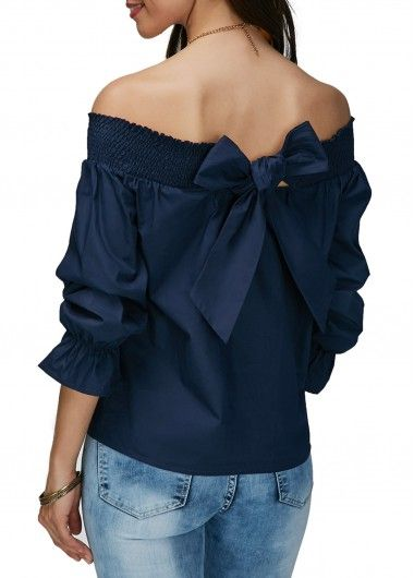 14359b9c753 Off the Shoulder Navy Blue Bowknot Embellished Blouse. Shop Womens ...