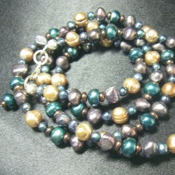 Blue Pearls, Gold Pearls, Black Pearls, Silver Necklace