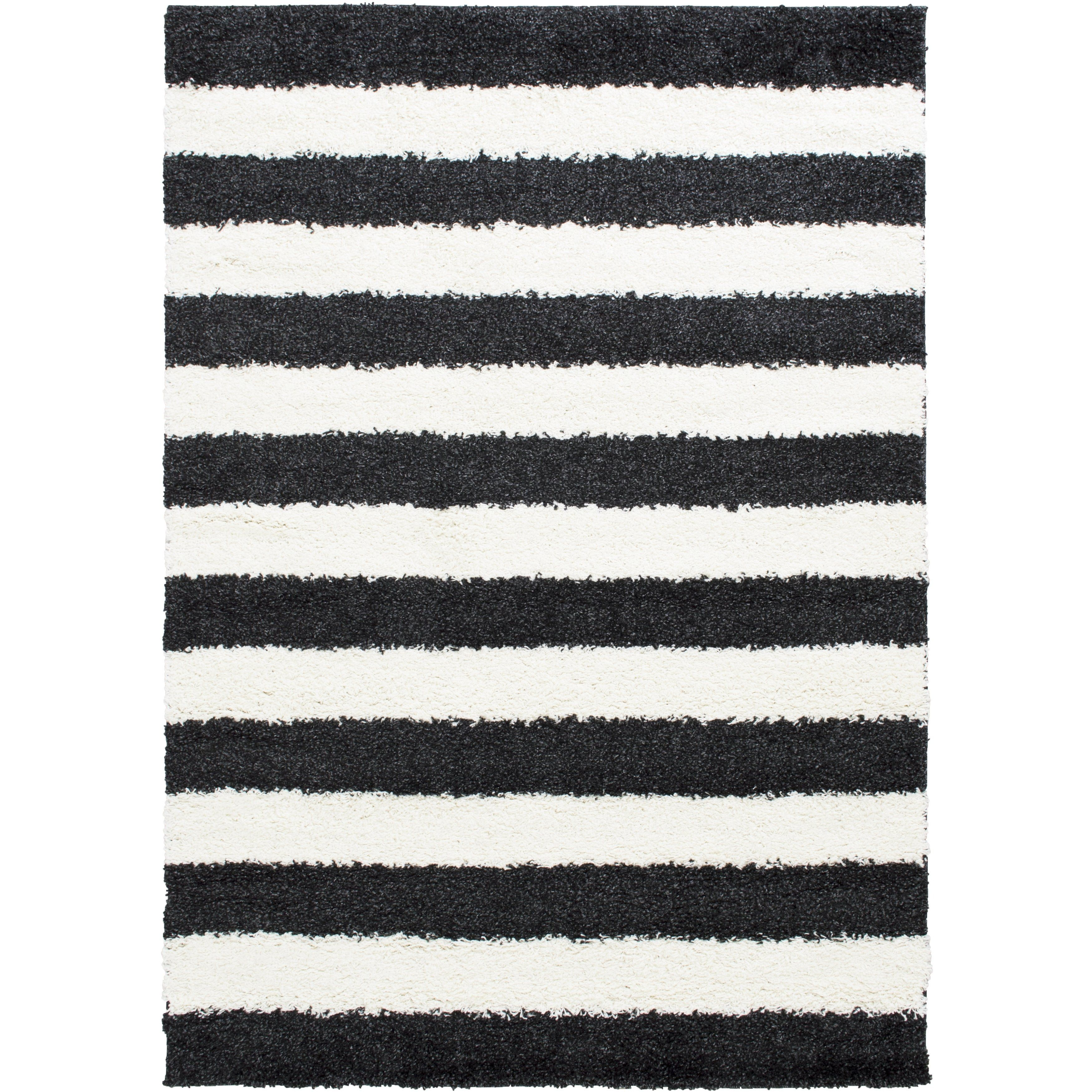 Lyke Home Stripped Anthracite 5x7 Area Rug Black Area Rugs