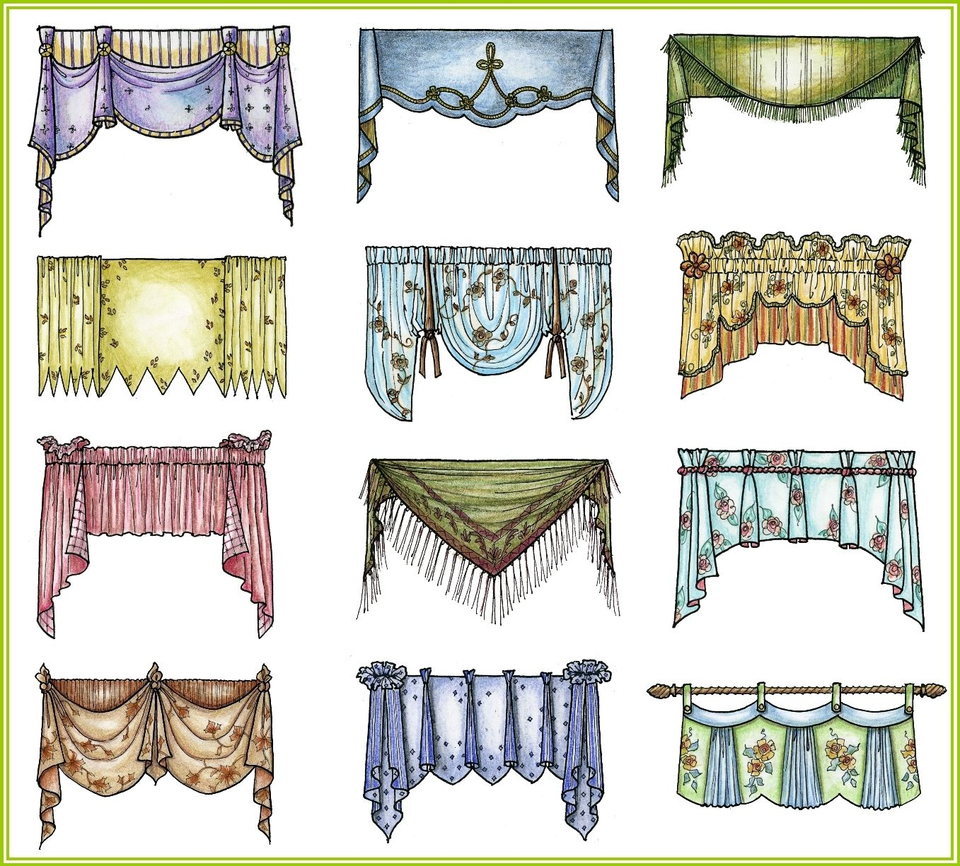 A quick preview of a few of the hundreds of valances I drew for my ...