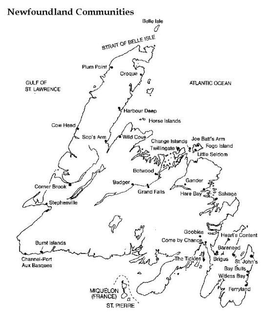 printable map of newfoundland province nf black and white map map Newfoundland Coast printable map of newfoundland province nf black and white map