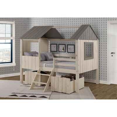 Zoomie Kids Schock Full House Low Loft In Rustic Sand And Grey With Dual Underbed Drawers With Images Low Loft Beds Loft Bed House Beds