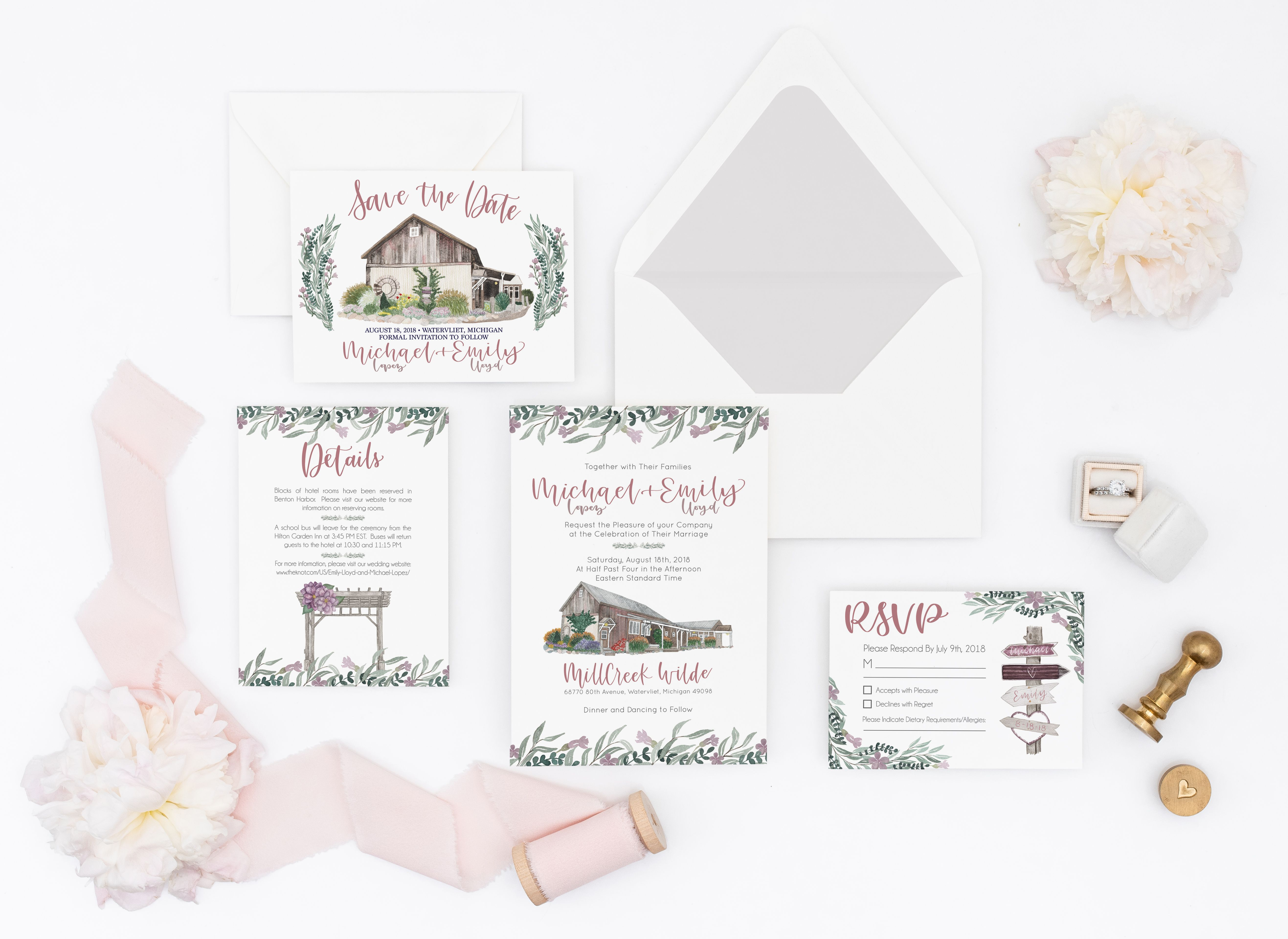 Blush custom watercolor wedding invitation suite with rustic barn