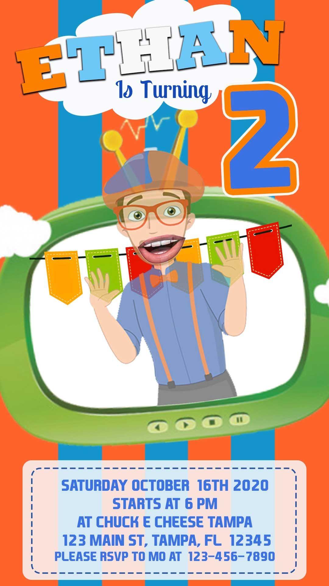 Blippi animated video birthday invitation in 2020