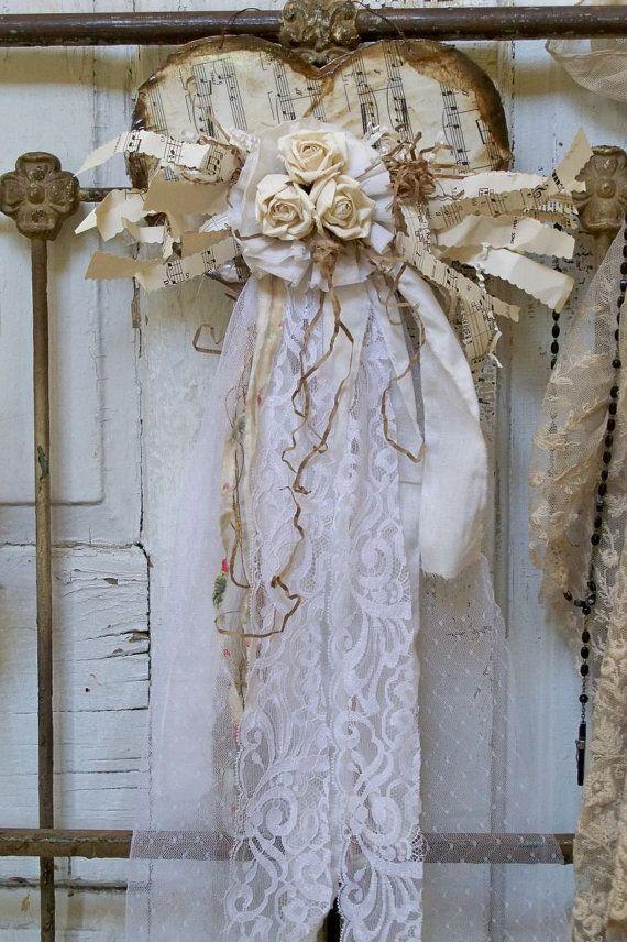 Shabby chic heart wall hanging white and cream by AnitaSperoDesign, $55.00