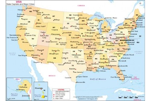 US State Capitals and Major Cities Map | #store mapsofworld | City