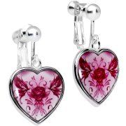 Body Candy Pink Tribal Flowering Rose Heart Clip On Earrings