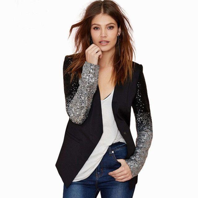 RichLuLu Silver Sequin Women Chic Blazer Solid Black Pu Patchwork Single Button Blazer V Neck Full Sleeve Casual Slim Blazer