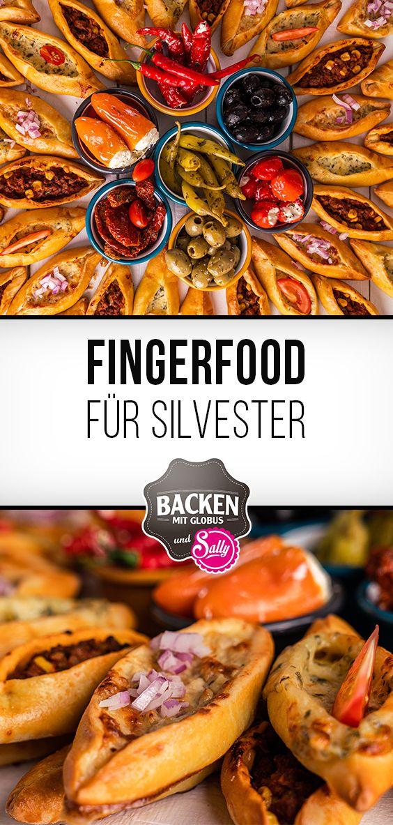 Fingerfood für Silvester / Mini Pide mit 3 Füllungen / Backen mit Globus & Sallys Welt #pizzateig
