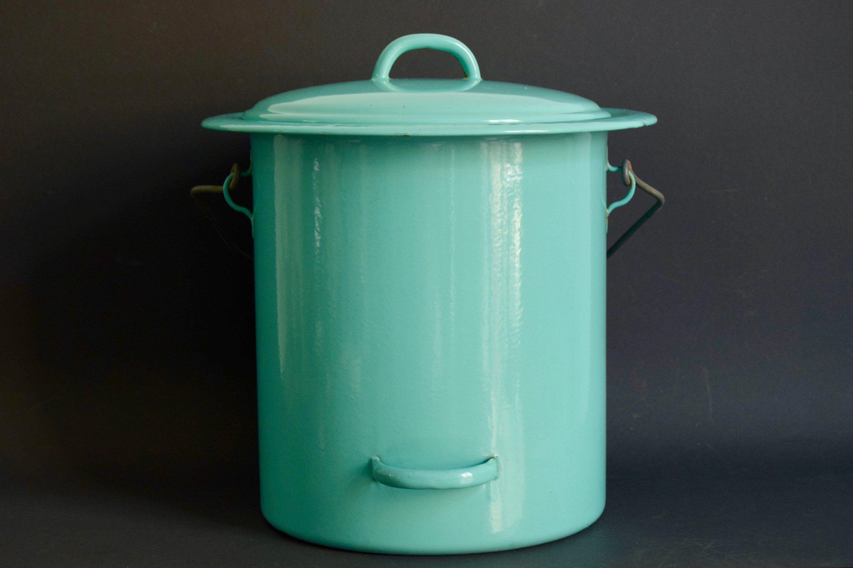 Stock Ancien Neuf Grand Seau Pot En Metal Emaille Avec Etsy Compost Bin Compost
