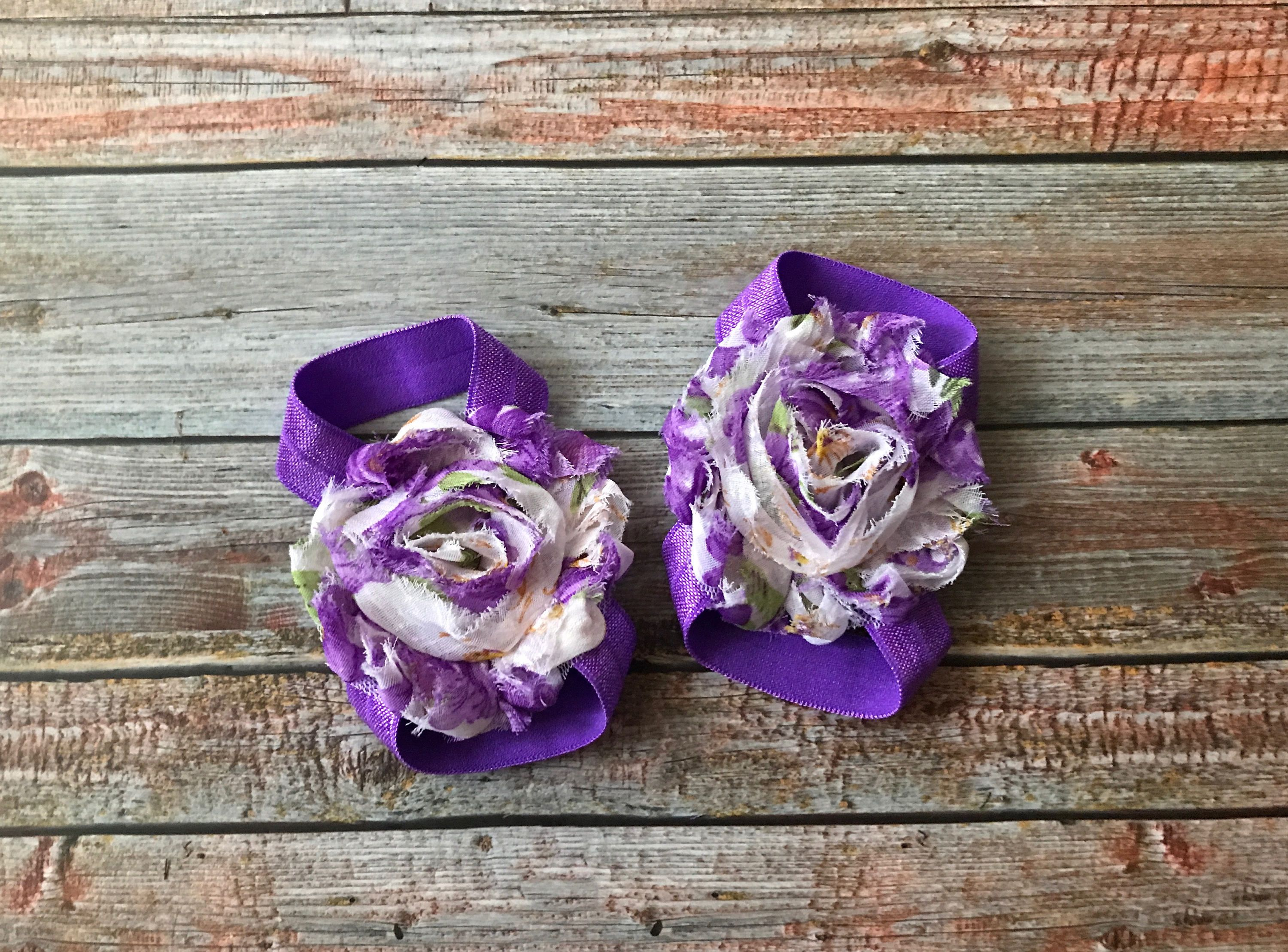 Purple Floral Barefoot Sandals/Baby Barefoot Sandals/Baby Girl Sandals/Baby Sandals/Baby Shoes/Elastic Sandals/Baby Girl/Newborn Sandals by JuliaGraceDesigns1 on Etsy