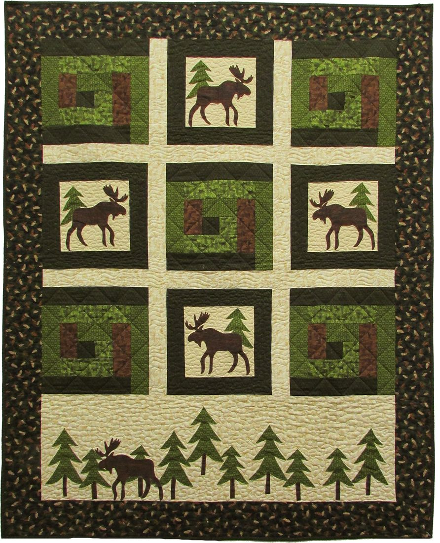 Moose on the Loose - Moose in the Cabin Free Quilt Pattern ... : moose quilt pattern - Adamdwight.com