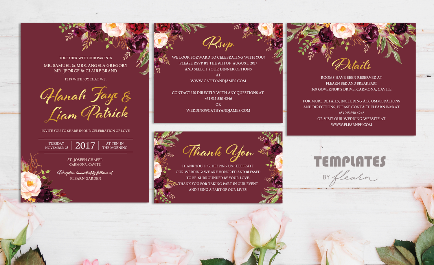 Elegant Maroon and Gold Marsala Watercolor Flowers Floral Wedding ...