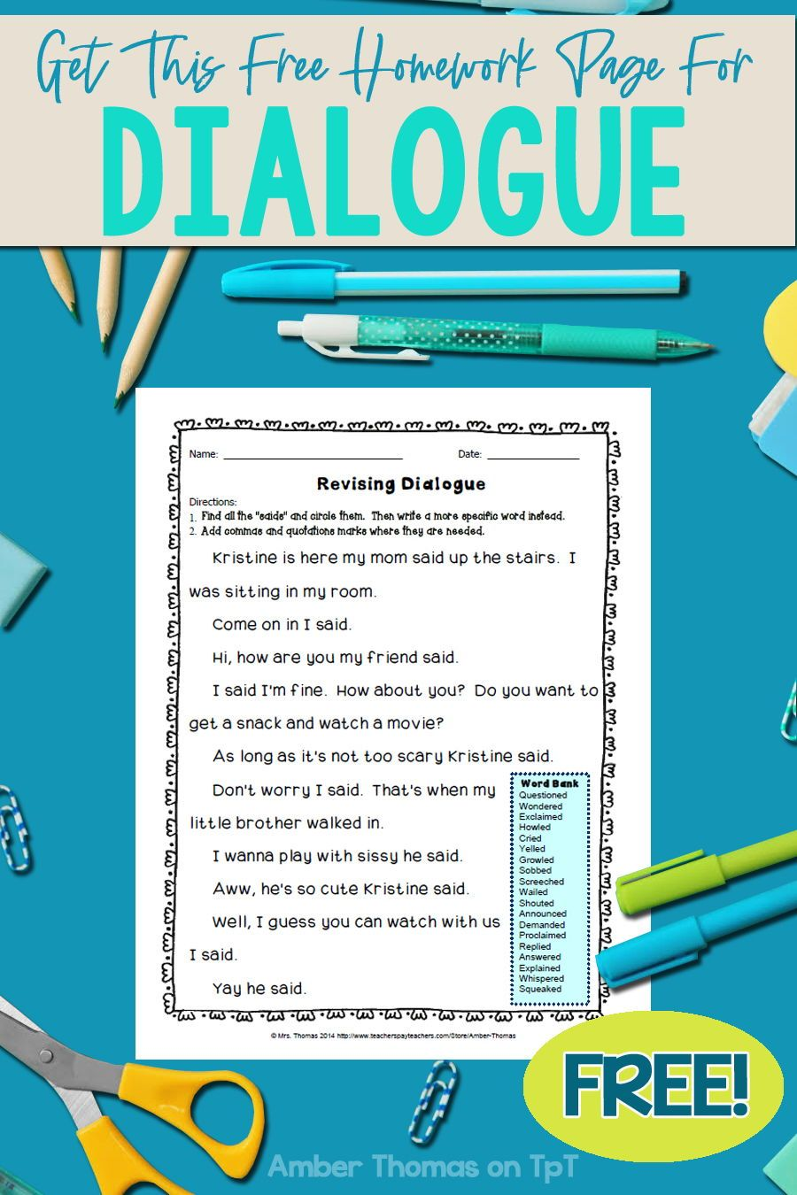 Revising Dialogue Homework or Printable Distance Learning Page   Elementary  writing lessons [ 1350 x 900 Pixel ]
