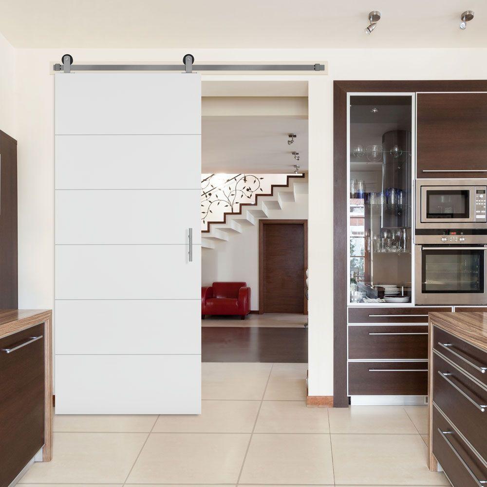 36 Inch X 84 Melrose Solid Core Primed Interior Barn Door Slab With Sliding Hardware Kit
